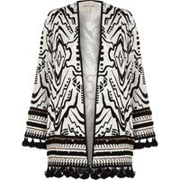 River Island Womens Black And White Beaded Tassel Hem Kimono