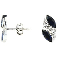 Turner And Leveridge 2000S 18Ct White Gold Marquise Sapphire And Brilliant Diamond Stud Earrings White Gold Blue