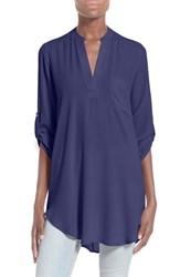 Women's Lush 'Perfect' Roll Tab Sleeve Tunic Astral Blue
