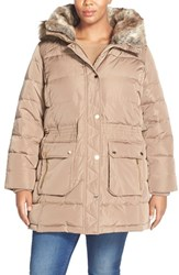 Plus Size Women's Michael Michael Kors Quilted Down And Feather Fill Parka With Faux Fur Trim