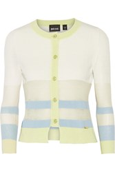 Just Cavalli Paneled Cotton Blend Cardigan White