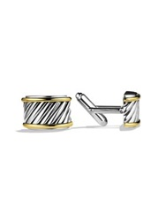 David Yurman Cable Cigar Band Cuff Links Silver Gold