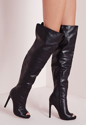 Missguided Faux Leather Thigh High Peep Toe Boots Black Black