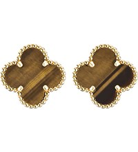 Van Cleef And Arpels Vintage Alhambra Gold Tiger's Eye Earrings Yellow Gold