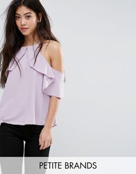 New Look Petite Ruffle High Neck Shell Top Lilac Purple