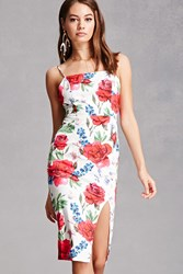 Forever 21 Watercolor Floral Cami Dress White Multi