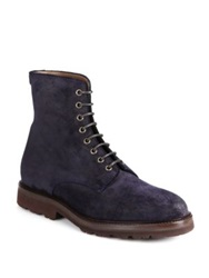 Brunello Cucinelli Waxed Suede Ankle Boots Navy