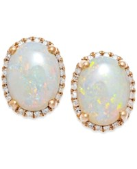 Macy's Opal 2 Ct. T.W. And Diamond 1 6 Ct. T.W. Stud Earrings In 14K Rose Gold White