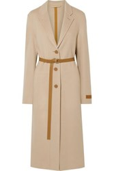 Helmut Lang Belted Layered Wool And Cashmere Blend Coat Beige