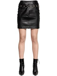 Jeremy Scott Nappa Leather Skirt With Ring Trim