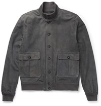 Valstarino Unlined Suede Bomber Jacket Gray