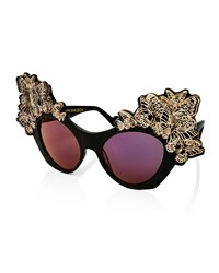 Anna Karin Karlsson The Butterfly Mirrored Sunglasses Black Black Gold