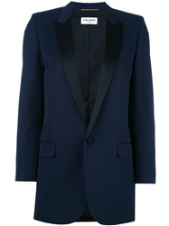 Saint Laurent Iconic Le Smoking 80'S Tuxedo Jacket Blue