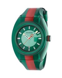 Gucci 46Mm Sync Sport Watch W Rubber Strap Green Red Green Red