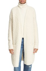 Vince Women's Honeycomb Wool Blend Long Cardigan Winter White