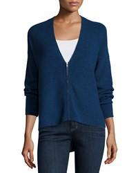 Eileen Fisher Zip Front Merino Wool Cardigan Women's Bluebonnet