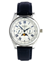 Sekonda Three Dial Watch With Blue Leather Strap Black