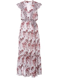 Robert Rodriguez Floral Print Flared Dress Women Silk Cotton 2 White
