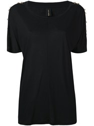 Alexandre Vauthier Eyelets And Studs T Shirt Women Silk Viscose Brass 38 Black
