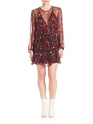 Iro Ressey Patterned Dress Black Red