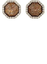 Monique Pean Women's White Diamond And Fossilized Dinosaur Bone Studs Co Colorless