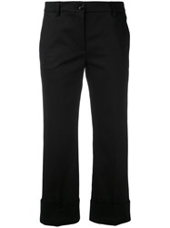 L'autre Chose Folded Hem Cropped Trousers Women Cotton Spandex Elastane Cupro 44 Black