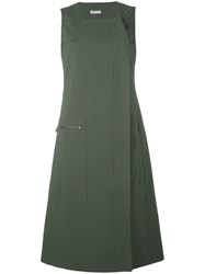 Tomas Maier Dislocated Fastening Sleeveless Dress Green
