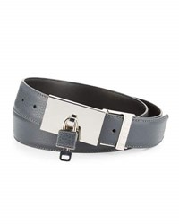 Buscemi Padlock Buckle Leather Belt Dark Gray
