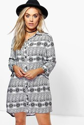 Boohoo Elda Paisley Shirt Dress Ivory