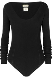Bottega Veneta Ribbed Knit Bodysuit Black