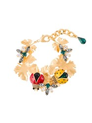 Dolce And Gabbana Lady Bird Leaves Bracelet Metallic