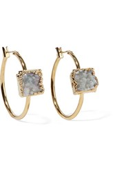 Dara Ettinger Gold Tone Stone Earrings Mint