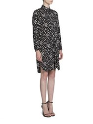 Saint Laurent Star Printed Shirt Dress Black White