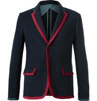 Gucci Blue Cambridge Contrast Tipped Stretch Wool And Cotton Blend Blazer Blue