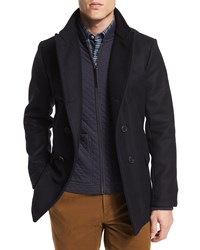 Billy Reid Bond Double Breasted Wool Peacoat Navy