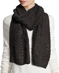 Neiman Marcus Fishnet Knit Muff Scarf Charcoal