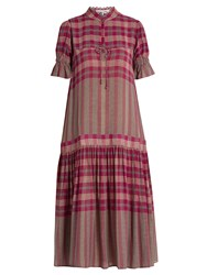Apiece Apart Los Altos Dropped Waist Plaid Dress Pink Multi