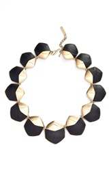 Rachel Zoe 'Alana' Leather Collar Necklace Gold Black Leather