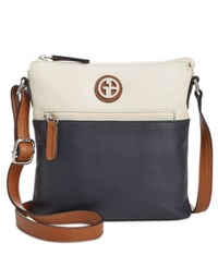 Giani Bernini Colorblock Leather Crossbody Only At Macy's Ivory Navy