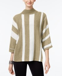 Ny Collection Mock Neck Striped Sweater Tan Ivory Combo