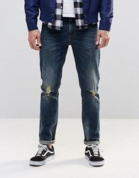 Asos Skinny Jeans In Dirty Blue With Rips Blue