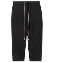 Rick Owens Cropped Stretch Cotton Ripstop Drawstring Trousers Black