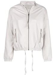 Humanoid Leather Bomber Jacket White