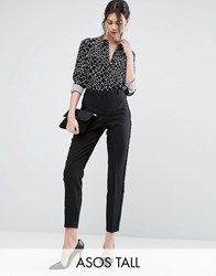 Asos Tall Tux Cigarette Trousers With Sheer Fringe Detail Black