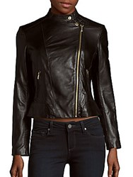 Cole Haan Front Zippered Leather Jacket Black