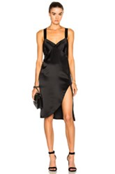 Michelle Mason Cross Back Slip Dress In Black