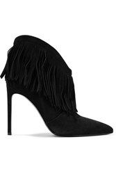 Saint Laurent New Western Fringed Suede Ankle Boots Black