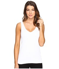Michael Stars Shine Double Front V Neck Tank Top White Women's Sleeveless