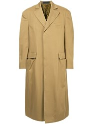 Haider Ackermann Long Single Breasted Coat Brown