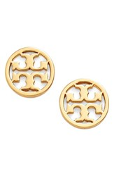 Women's Tory Burch Circle Logo Stud Earrings Shiny Gold